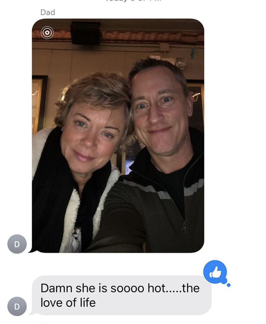 """Lili Reinhart's dad texts Lili a picture of himself and her mother and says """"Damn she is soooo hot.....the love of life"""""""