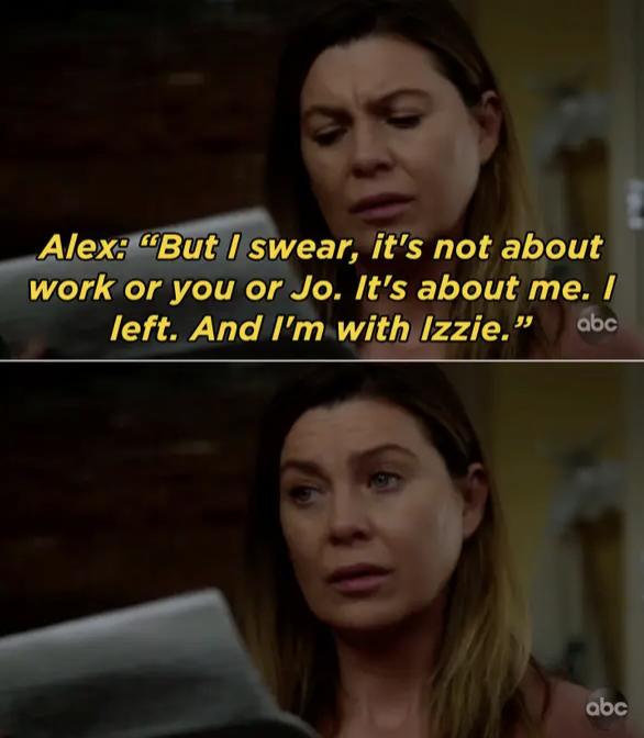 Meredith Grey reading Alex's goodbye letter