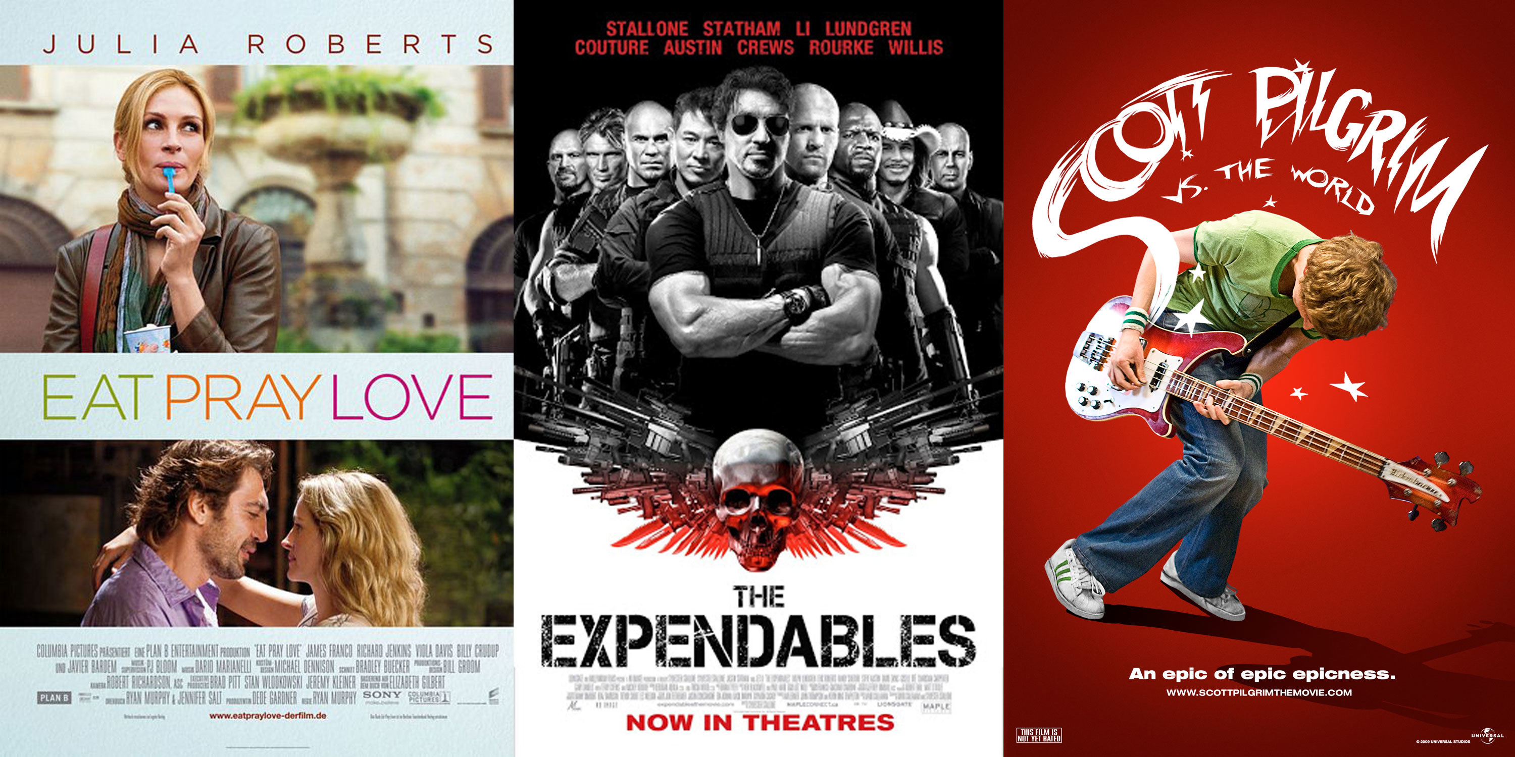 """The movie posters for """"Eat Pray Love,"""" """"The Expendables,"""" and """"Scott Pilgrim vs. the World."""""""