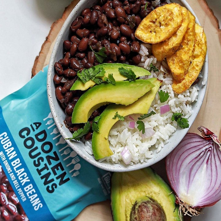 the black beans in a rice, plantains, and avocado bowl lunch