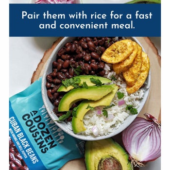 view of black beans in a rice, plantains, avocado bowl lunch