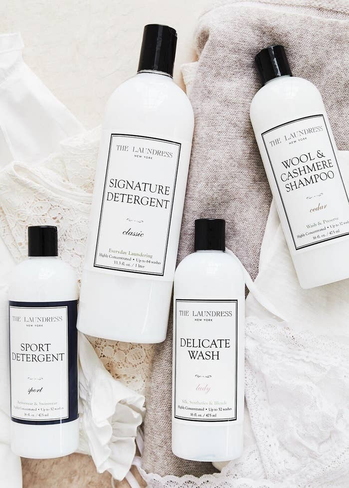 One bottle each of The Laundress' signature detergent, wool and cashmere shampoo, sport detergent, and delicate detergent