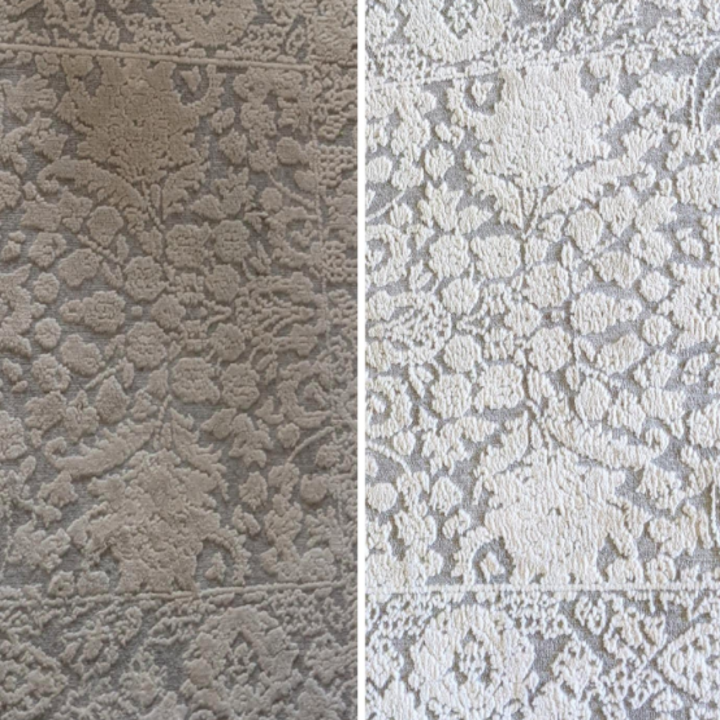 A side-by-side collage of a carpet before and after a customer has used the BISSELL SpotClean Pet Pro Portable Carpet Cleaner on it. On the left, the carpet is dirty and brown; on the right the same carpet is clean and white.
