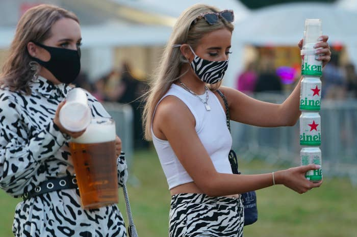 Girls holding beers