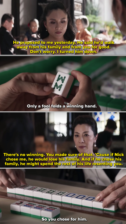 Rachel folding the winning hand against Eleanor in mahjong