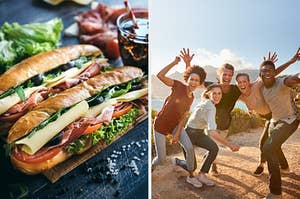 On the left, two sub sandwiches with salami, ham, cheese, lettuce and tomatoes, and on the right, a group of five friends wave and smile at the camera