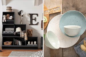 Storage boxes and a dinner plate set