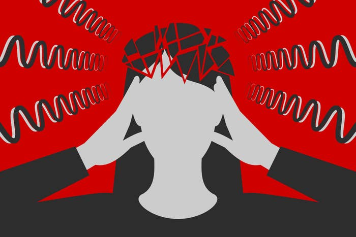 Black-and-white woman is clasping her head with hands, suffering from unbearable headache caused by stress and overwork, head is broken down to fragments, over depressive red background