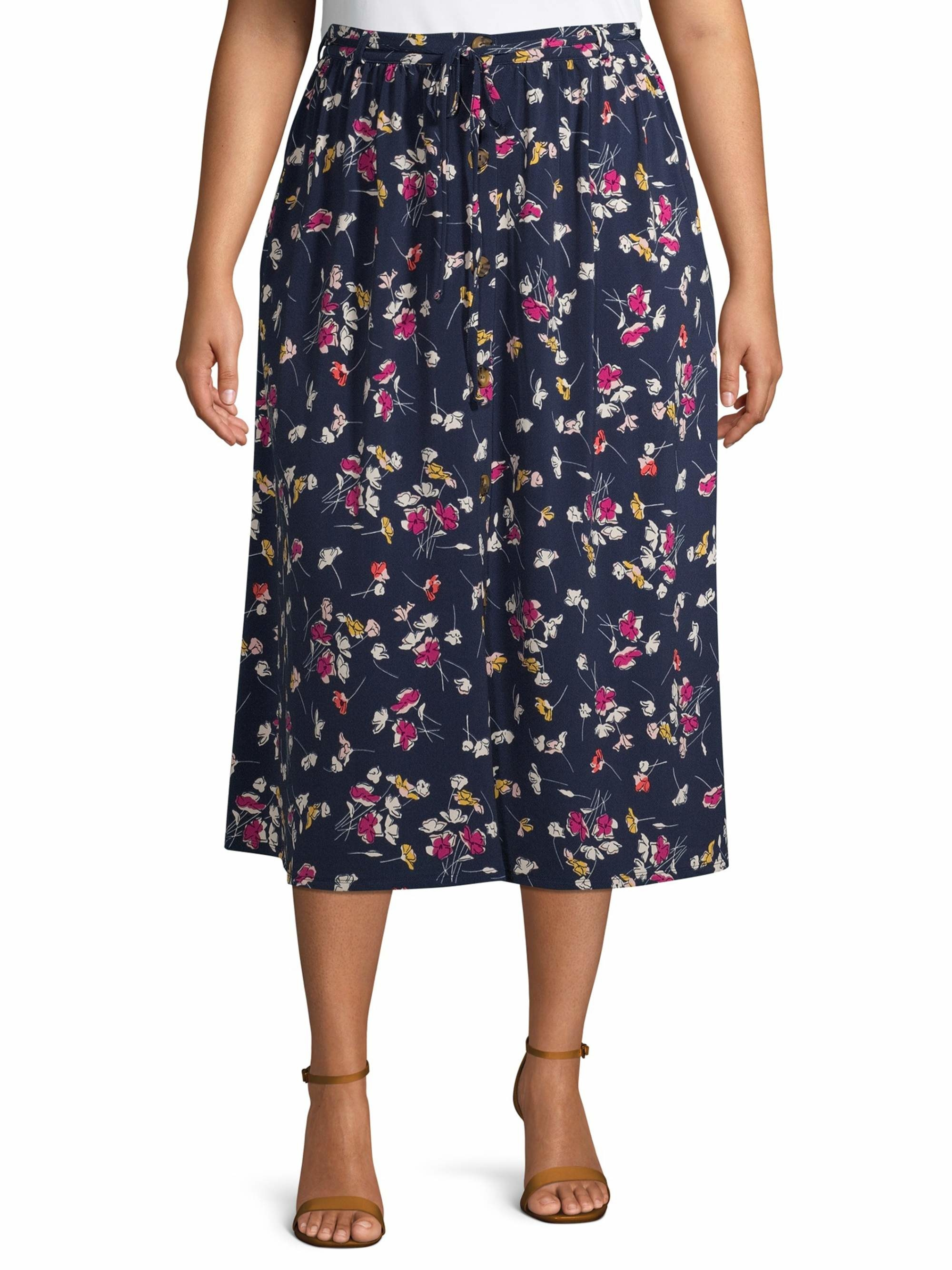 Model wearing the floral midi skirt