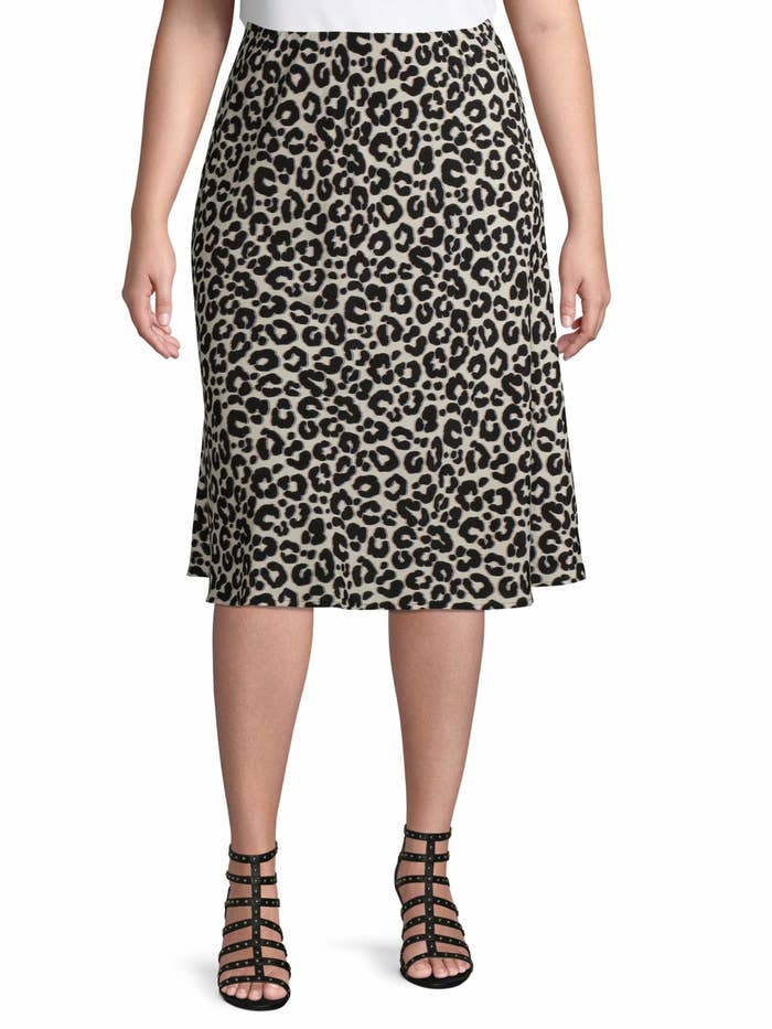 Model wearing the leopard print skirt