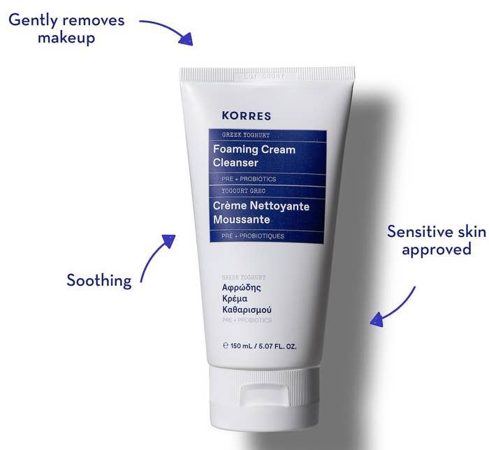 "the white bottle labeled ""Korres foaming cream cleanser"""
