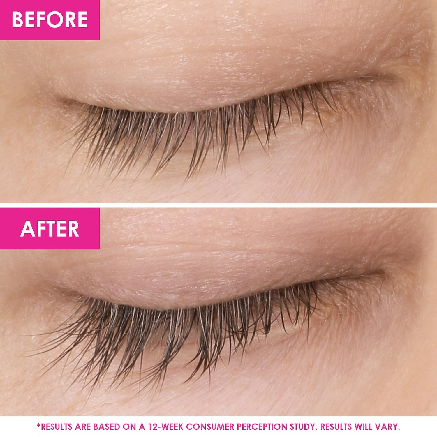 before photo of model with short lashes; an after photo of same model with visibly longer lashes