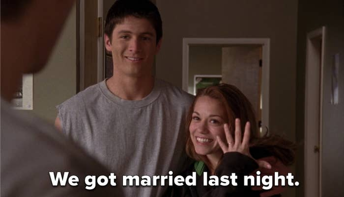 Haley flashing her ring to Lucas and saying her and Nathan got married the night prior