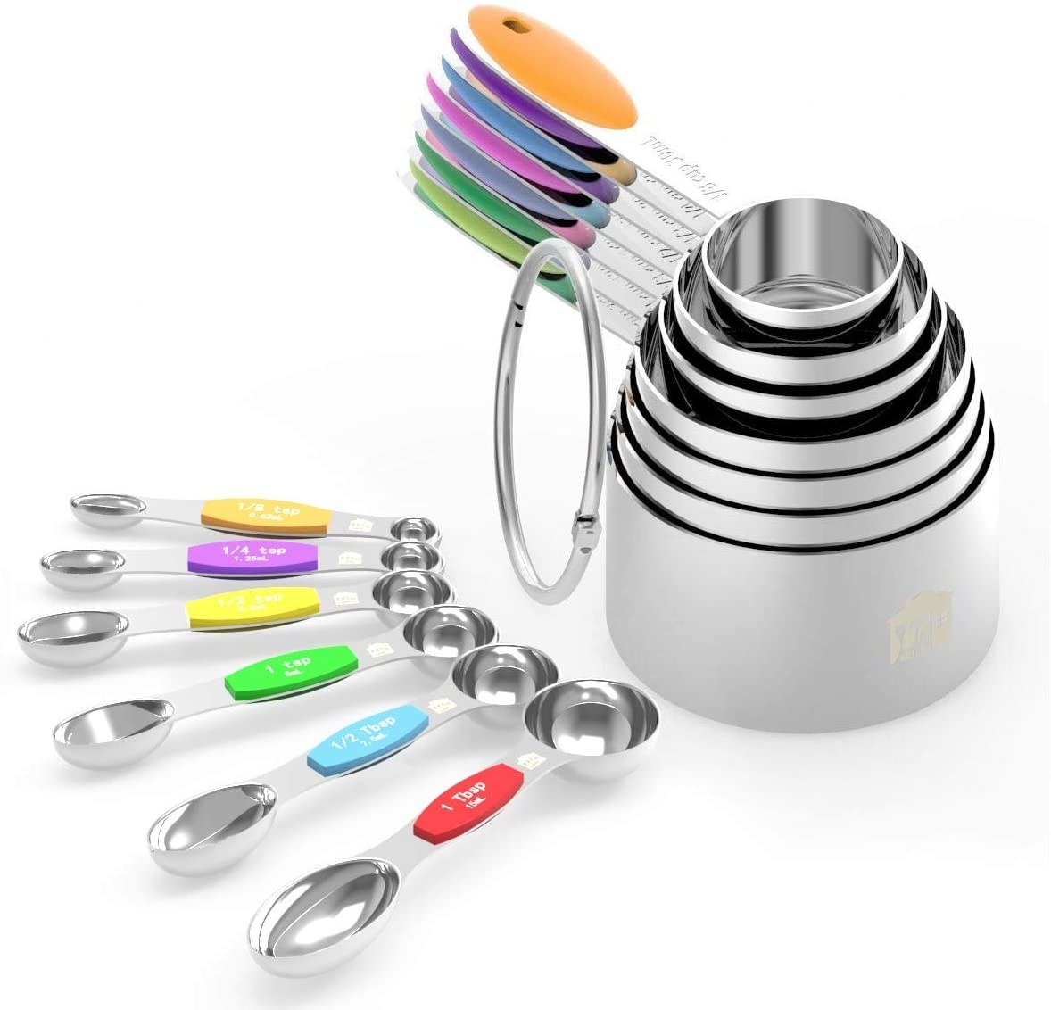 A stack of measuring cups and measuring spoons of all different sizes.