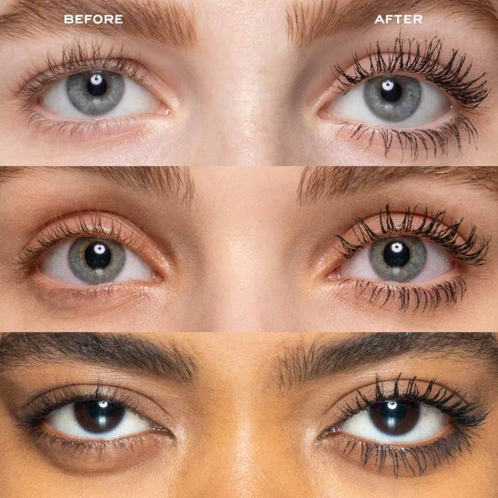 "three models wearing no mascara on the left side of their face labeled ""before""; the same models with visibly longer lashes to the right labeled ""after"""