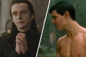 "On the left, Michael Sheen as Aro in ""New Moon,"" and on the right, Taylor Lautner as Jacob in ""New Moon"""