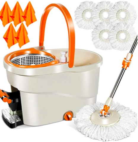 The 6L Foot Pedal Microfiber Spin Mop, 5 Piece Microfiber Mop Heads, 5 Cleaning Clothes Stainless, Steel Bucket, and Telescopic Pole Orange