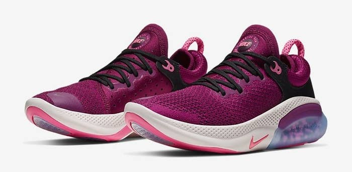 The knit sneakers in magenta and white