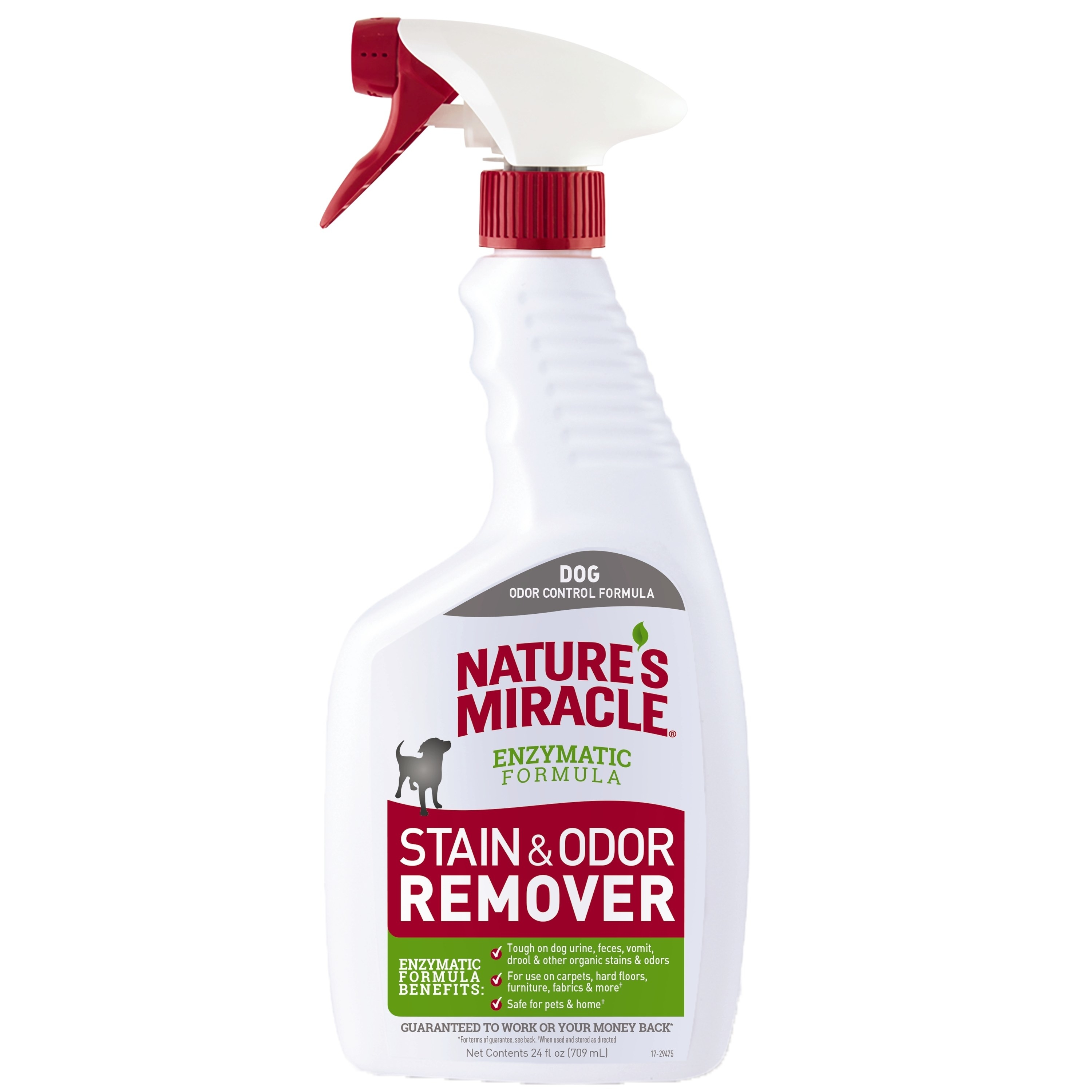 A white bottle of Nature's Miracle stain and odor remover