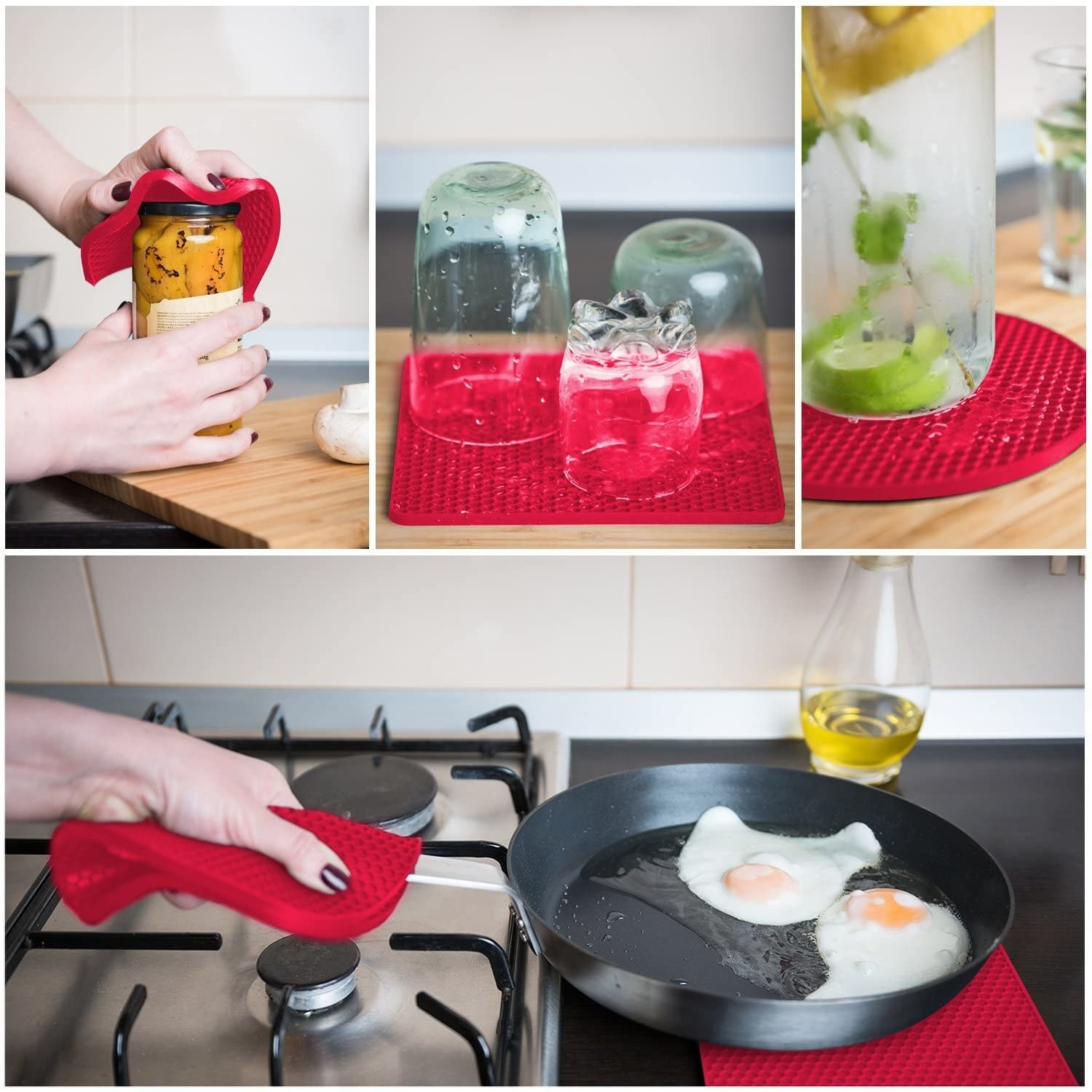 Model's hands using red trivets to open jars, dry glasses, and rest hot pans on