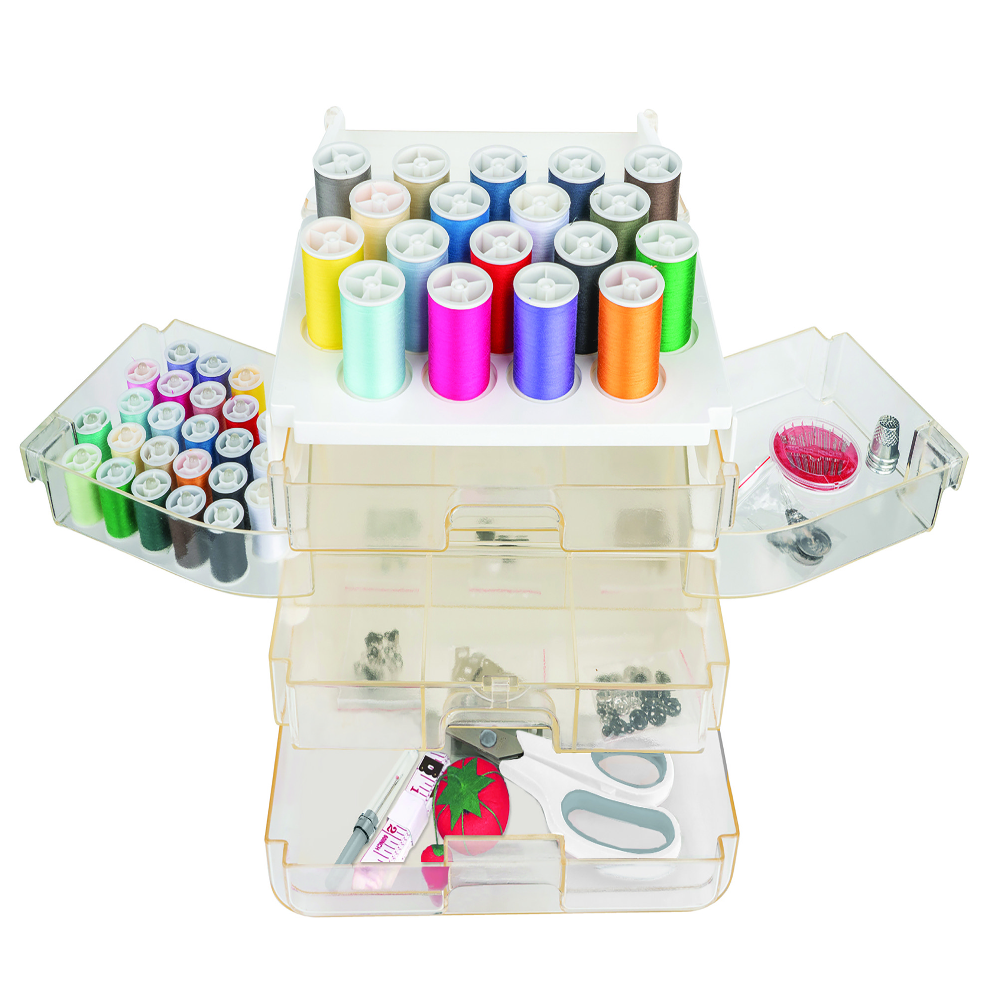 A clear plastic sewing kit with colorful threads, scissors and more