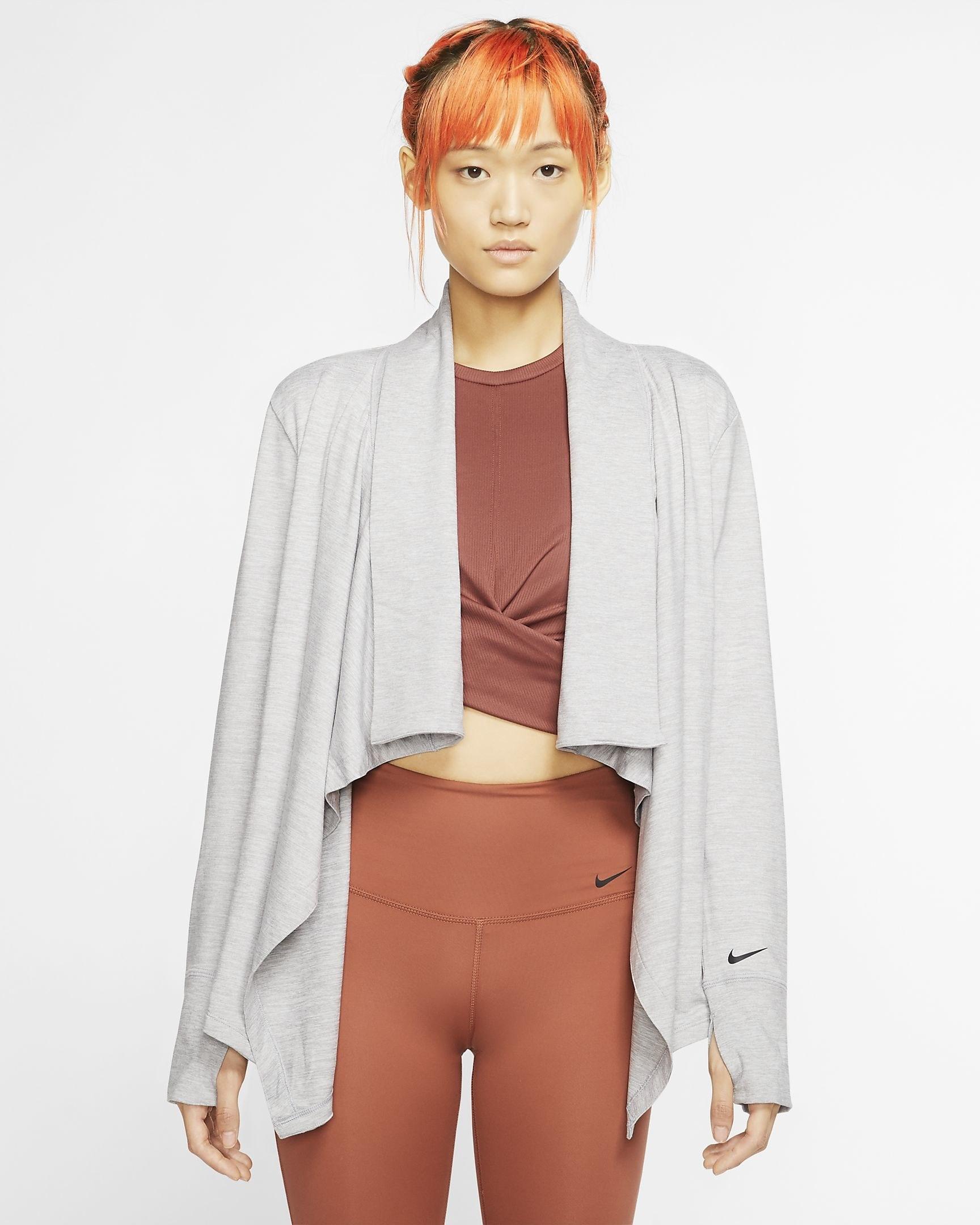 Model in the drape-front open top in grey