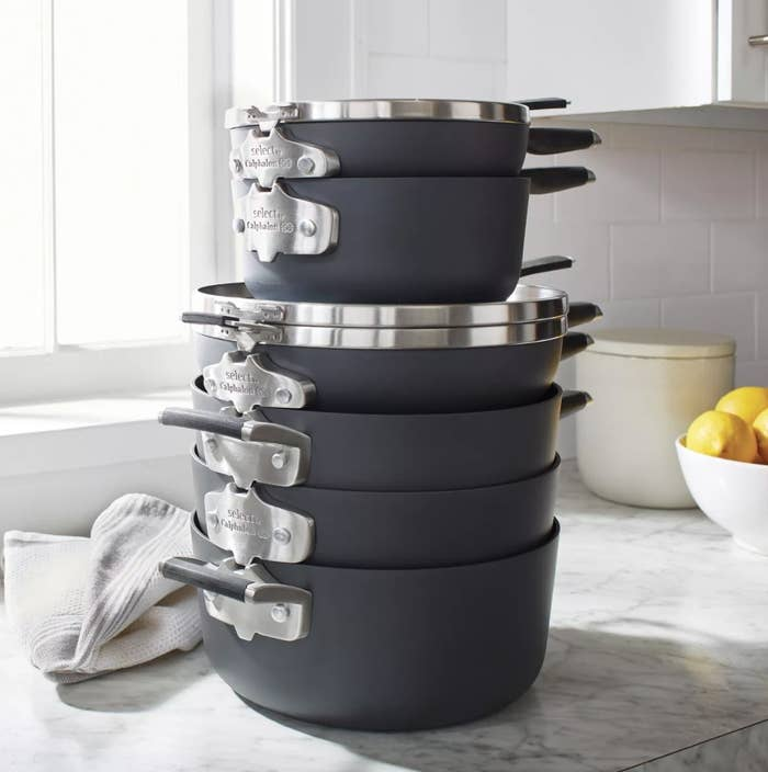 Stack of Calphalon space-saving pans in a kitchen