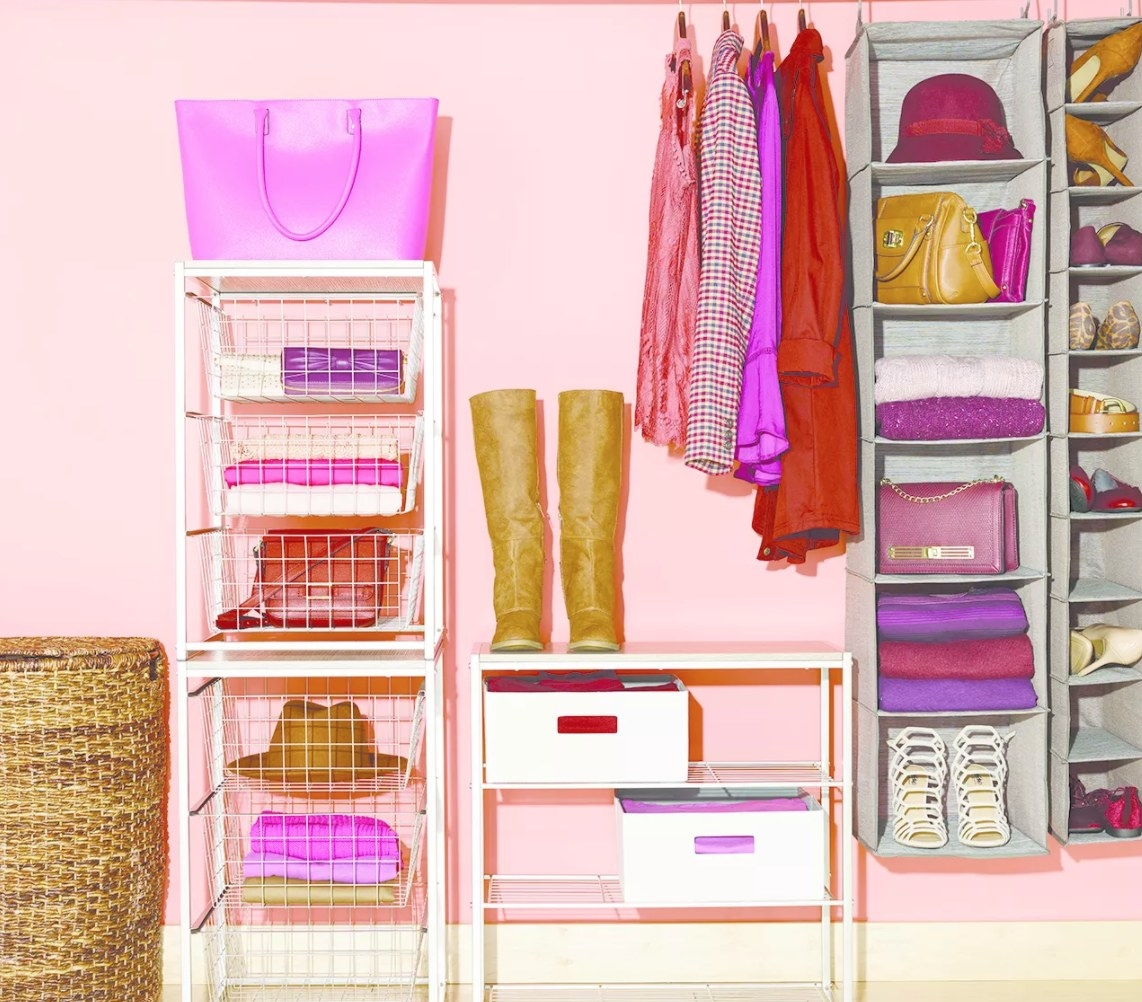 Light gray hanging storage compartments holding shoes and bags