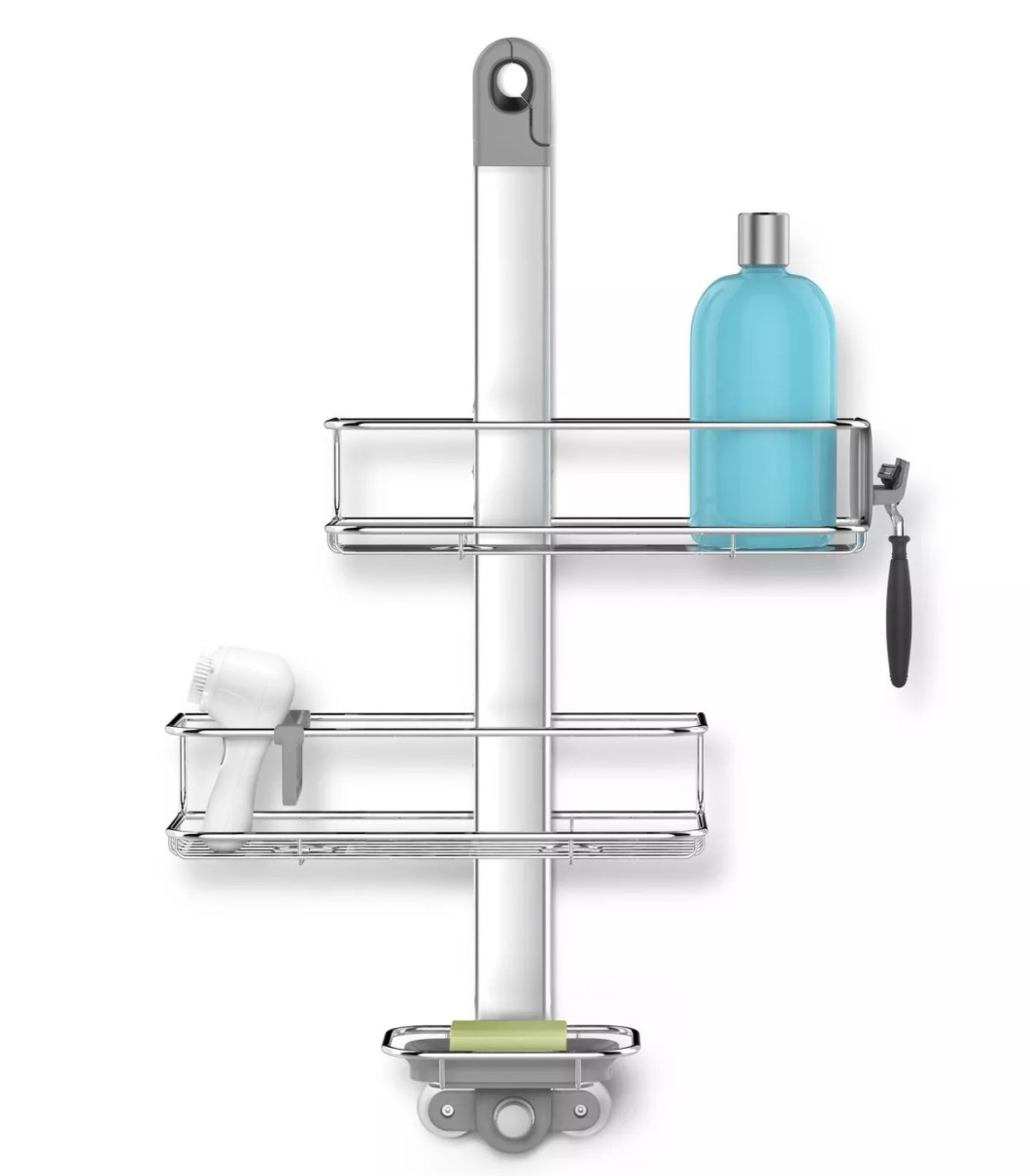 Silver shower caddy with products stored on each of the three shelves