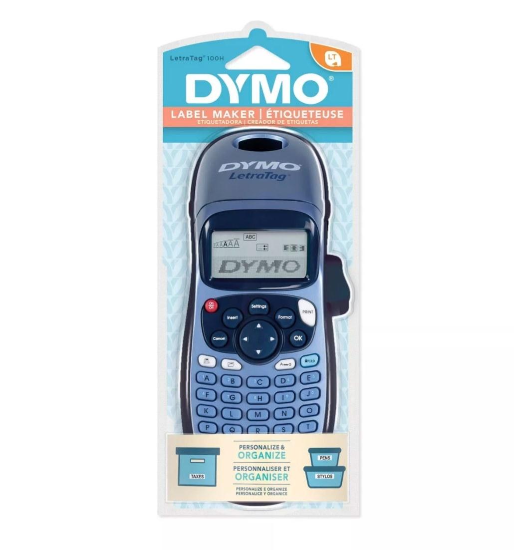 A blue DYMO label maker in packaging