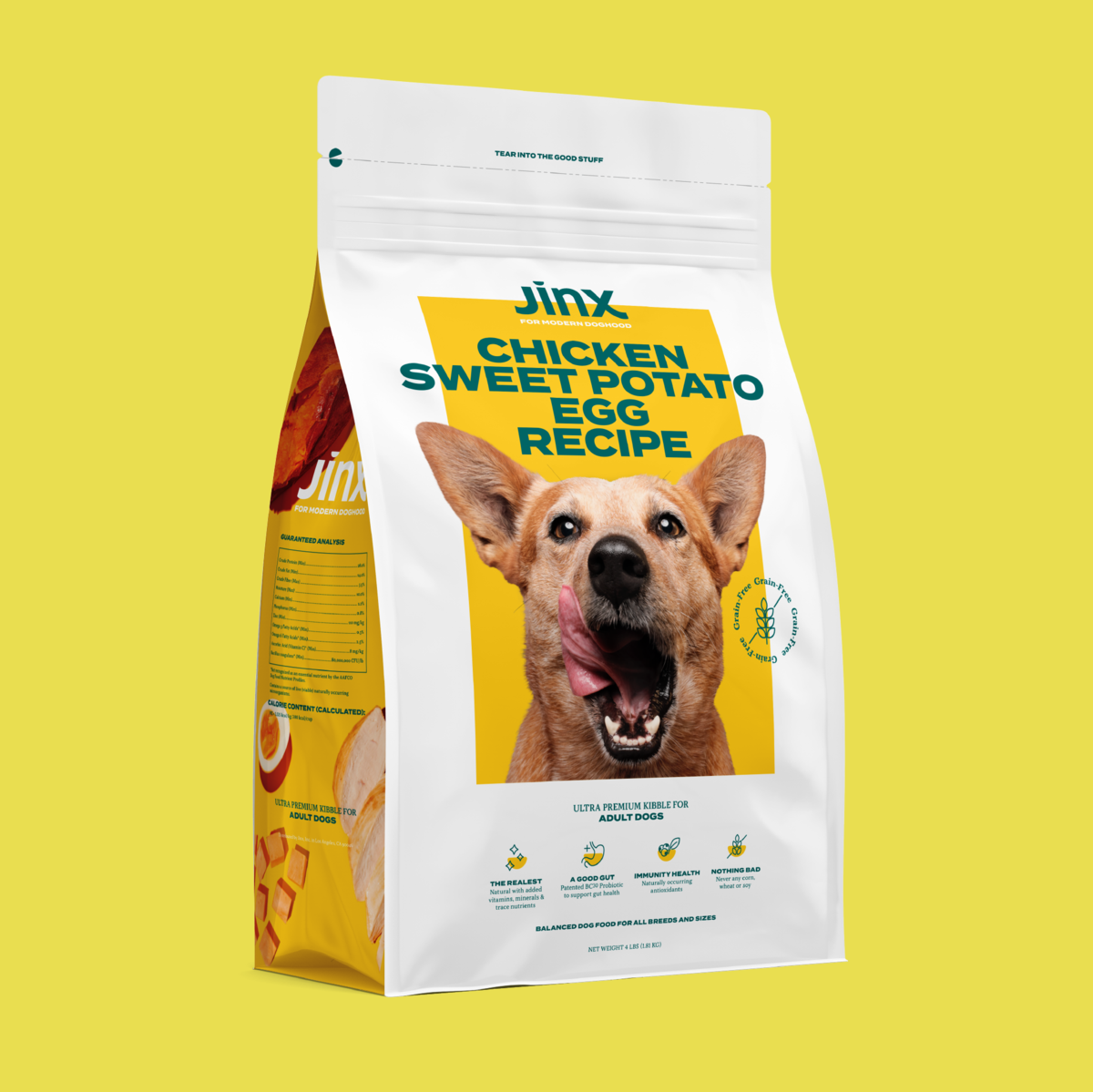 A bag of the sweet potato and egg recipe dog food