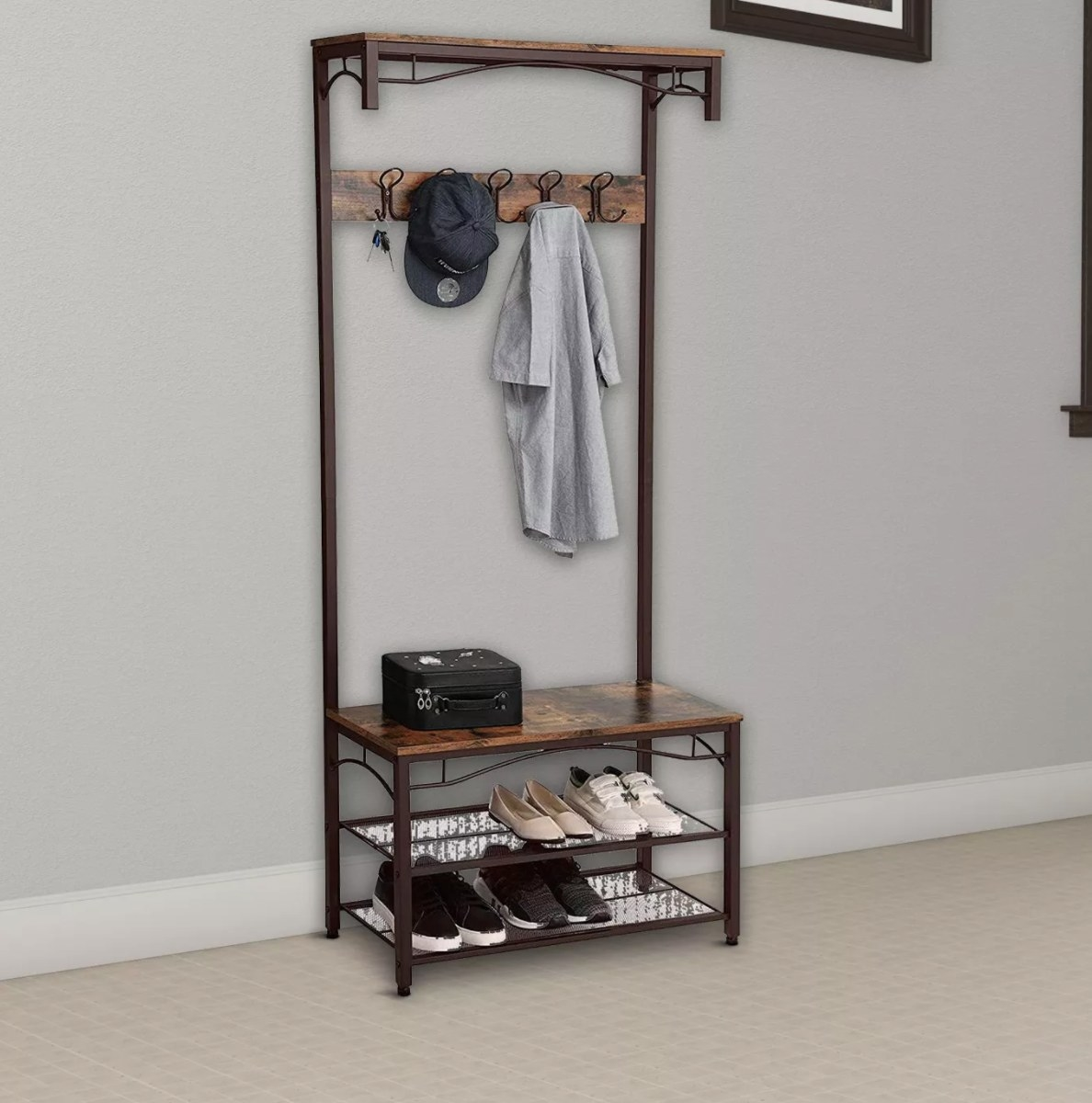 Black and brown metal and wood coat rack and bench entryway furtniture