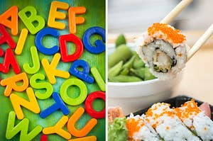 On the left, magnets shaped like the letters of the alphabet, and on the right, someone picks up a piece of sushi with chopsticks