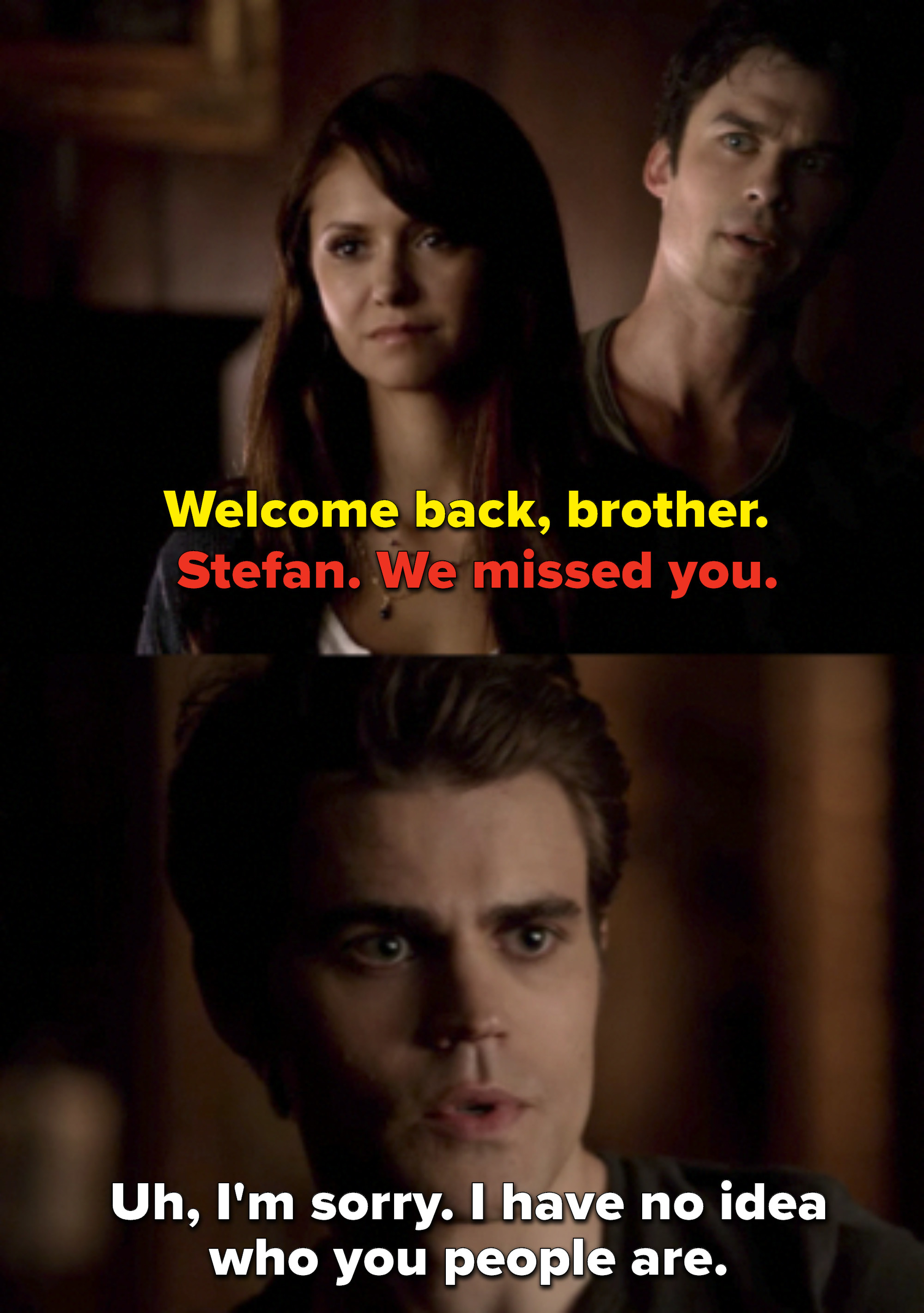 "Damon says ""Welcome back, brother"" and Elena says ""Stefan, we missed you,"" and Stefan replies he has no idea who they are"