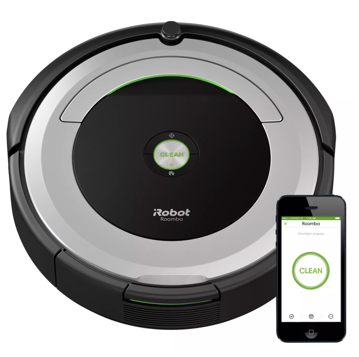 A black and silver round iRobot Roomba with app
