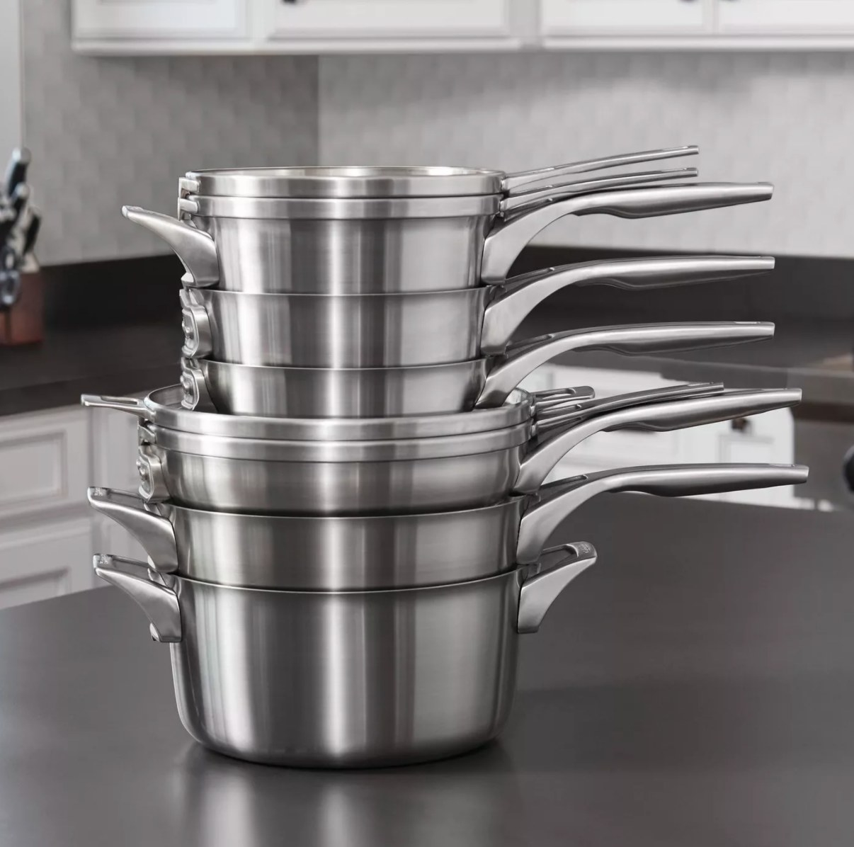 Calphalon stainless steel stack of pans