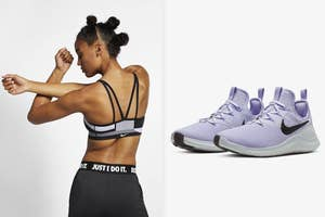 Model in a sports bra from the back / lavender sneakers