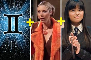 Two letter i's connected in front of a burst of stars next to a woman with a messy bun wearing a fur jacket, next to a woman with long hair who is clapping her hands and holding a magic wand