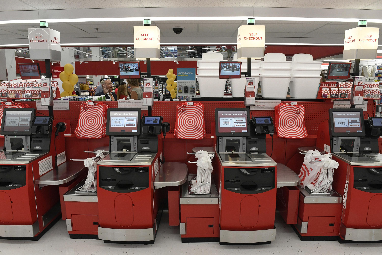 A self checkout machine at Target
