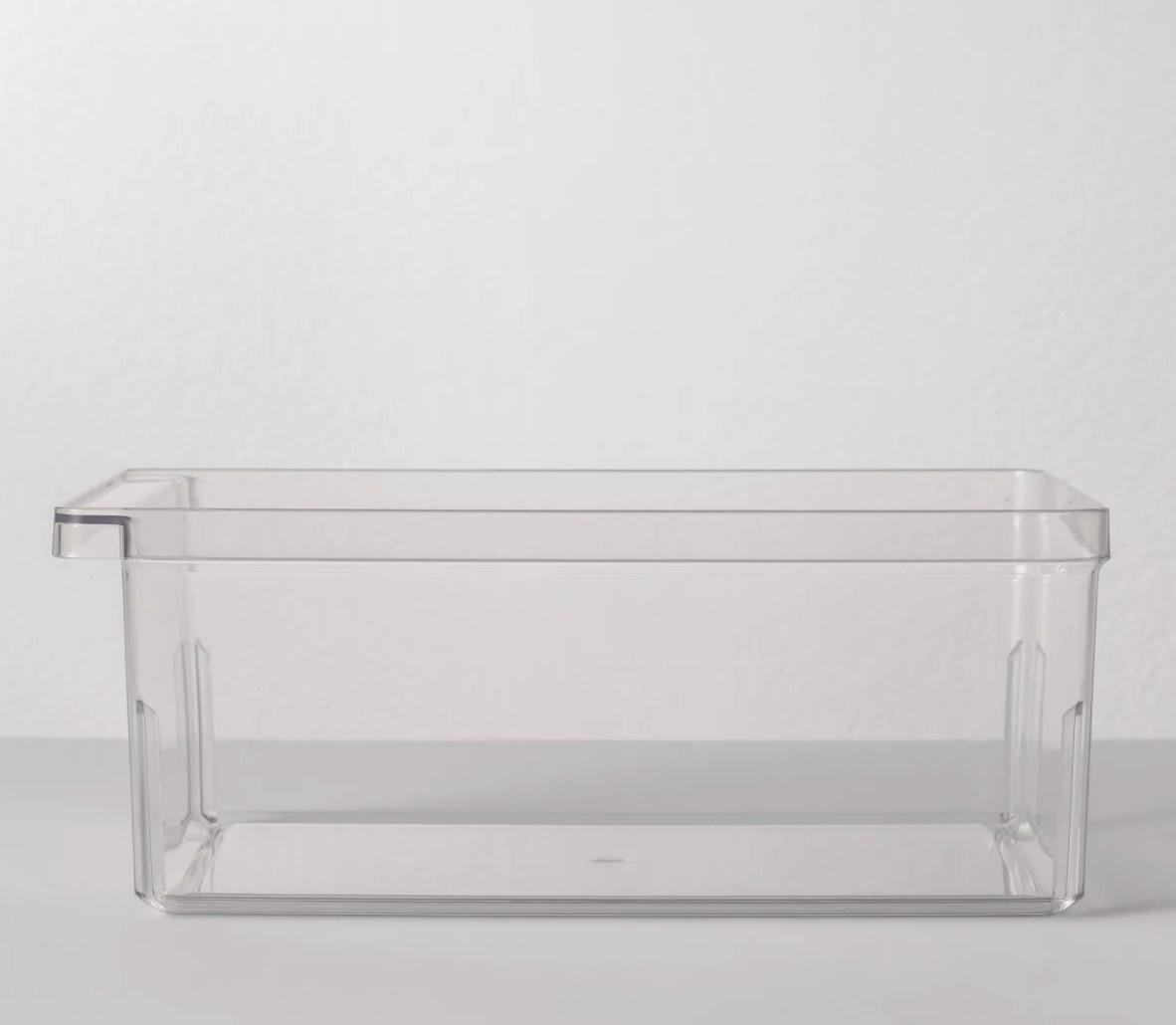 Clear plastic bin for kitchen storage