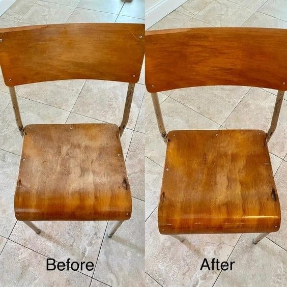 Reviewer's before-and-after photo of their scratched-up wooden chair and then new-looking, glossy chair
