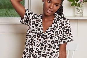 model wearing animal print pajama set