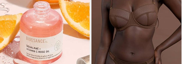 On the left, Biossance rose oil. On the right, model in nude underwear