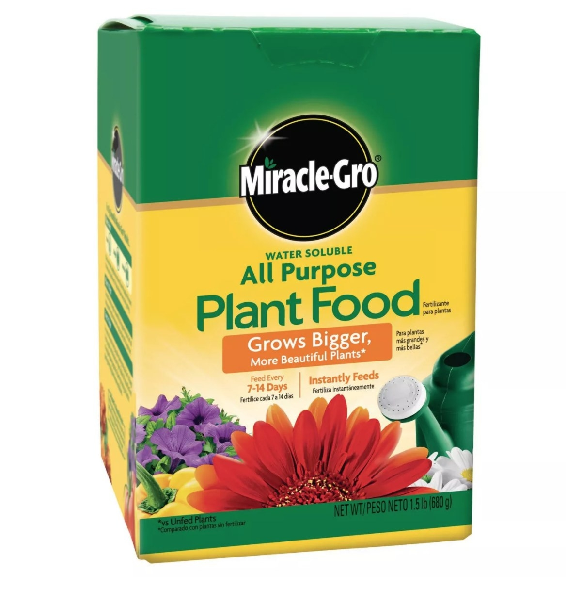 A green and yellow box of Miracle-Gro plant food