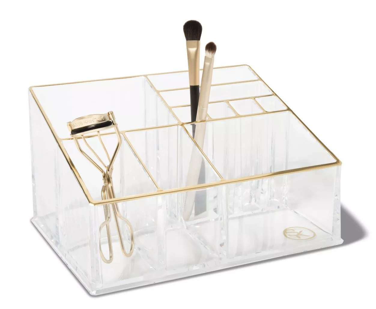 the clear organizer with gold edges and 10 sections in different sizes for beauty tools
