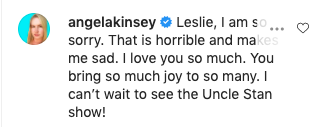 A screen grab of Angela Kinsey's comment to Leslie David Baker