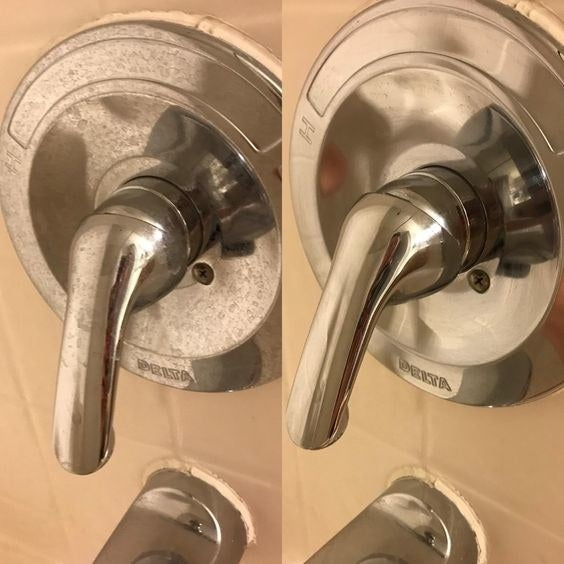 Reviewer's before-and-after picture of their shower faucet with hard water stains and then totally clean
