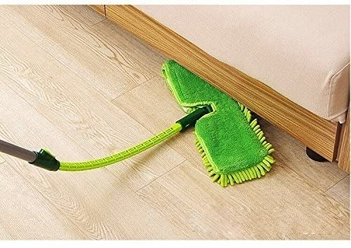 The flexible microfiber mop reaching under a couch