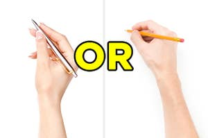 On the left, someone holds a ballpoint pen, and on the right, someone begins to write with a wooden pencil