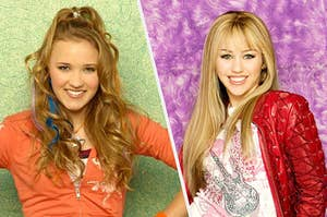 Lilly and Hannah Montana smiling together